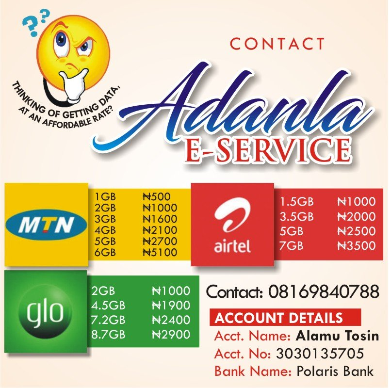 Adanla E-service : Cheapest Data Seller