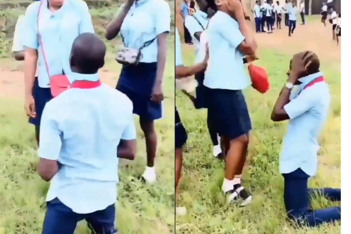 ss3 student propose,ss3 student propose to his girlfriend,waec, Love In The Air; SS3 Student Proposes To His Girlfriend After WAEC Examination (VIDEO), NAIJAPARRY